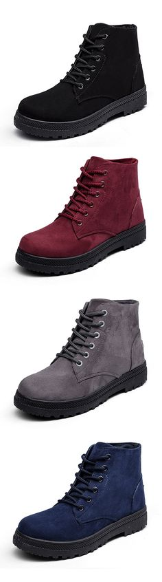 US$15.40  Big Size Pure Color Suede Lace Up Ankle Casual Boots For Women