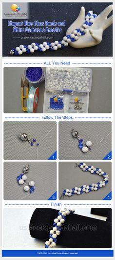 Pandahall Elite DIY blue glass beads and white gemstone bracelet