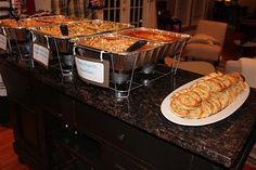 Pasta Bar ~ 3 Varieties: Pasta with Sun-Dried Tomato Pesto, Pasta Fagioli, Baked Pasta with Italian Sausage, 2 Salads: 1 with Meat and 1 Meatless, Garlic Bread