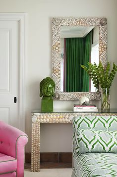 pink + green living room | anne hepfer