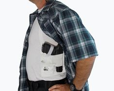 Holster Shirt | Concealed Carry for Men | More Comfortable than Compression Shirt | CCW Clothing | Right Handed Concealment Gun Holster USA
