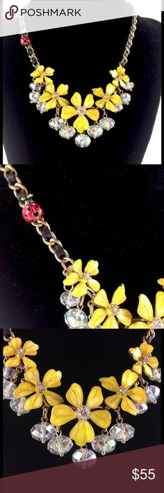 """1 HR FINALBetsey Johnson Flower Necklace Brand new with tags! NWT.  Betsey Johnson necklace with yellow jeweled flower blossoms and cute red lady bug accent. Beautiful design! 14"""" with 3"""" extender.  Please ask all your questions before you purchase! I am happy to help! Sorry, no trades or holds. Please, no lowball offers Please use Offer Button! Happy Poshing! Betsey Johnson Jewelry Necklaces"""
