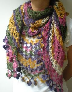 colorful crochet shawl by crochetbutterfly, via Flickr