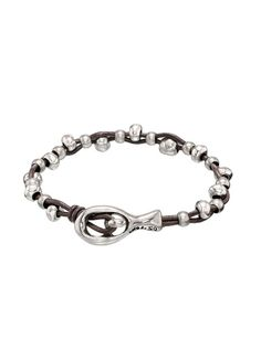 cae8132610d55 A double strand of braided brown leather with Silver plated beads. This  style from Uno