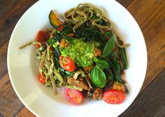 This+spicy+summery+pasta+has+a+load+of+fresh+veggies,+chorizo+and+a+delicious+garlic+scape+pesto+to+top+it+all+off.+Thanks+for+the+recipe,+Pam+K!