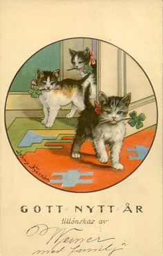 Vintage/ antique Swedish New Year card with three kittens carrying Lucky fourleaf clover in their mouths. Artist: Jenny Nyström