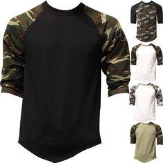 f5a2d57291c9 Raglan 3 4 Sleeve T Shirts Baseball Mens CAMO Plain Tee Jersey Team Sports