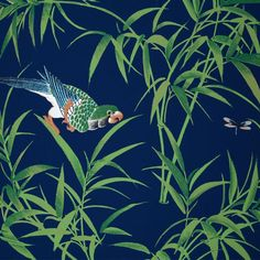 Bob Collins and Sons Navy Bamboo & Birds Wallpaper (630 AUD ...