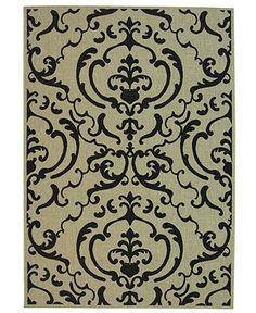 "OUTDOOR - MANUFACTURER'S CLOSEOUT! Safavieh Area Rug, Courtyard Indoor/Outdoor CY2663-3901 Beige/Black 7' 10"" x 11' - 8 x 10 Rugs - Rugs - Macy's"