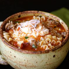 Lasagna Soup! I think I might like this recipe better than the last one I just pinned. This one has sausage instead of ground beef! :)