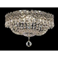 Century Chrome Four-Light 14-Inch Flush Mount with Royal Cut Clear Crystal
