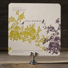 Vendage from Kamal is a vibrant, modern wedding invitation that celebrates nature with letterpress botanicals and is a popular pick for a contemporary, eco friendly wedding.