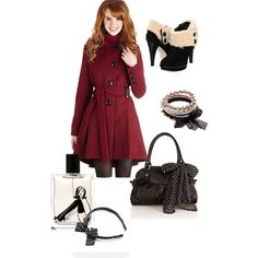 """""""winter in black and red"""" by renatexo on Polyvore"""
