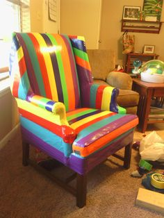 Rainbow Flavored Duct Taped Wing Back Chair!