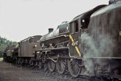 LMS Stanier Jubilee Class 4-6-0 No. 45697 ACHILLES at Carnforth shed on 26th August 1967 Diesel Locomotive, Steam Locomotive, Steam Trains Uk, Electric, Abandoned Train, Steam Railway, Picture Places, Train Art, British Rail