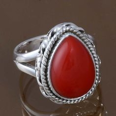 HOT SELL 925 SOLID STERLING SILVER Coral FANCY RING 5.31g DJR8537 S-5 #Handmade #Ring