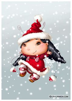 Winter Fairy-Bugs by Lia Selina, via Behance Illustration Mignonne, Illustration Noel, Christmas Illustration, Illustrations, Gif Fete, Art Mignon, Winter Fairy, Mosaic Diy, Love Fairy