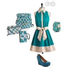 """Thirty-One Teal Mod Dot"" by rio-mccarthy on Polyvore"