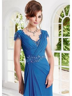 Long Blue Cap Sleeves V-Neck Lace Chiffon Mother of  The Bride Dresses 99503031