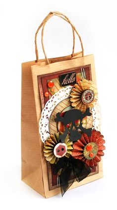 DIY art mixed media craft  and decorating idea.  Paper craft. Gift tag & Wrapping idea.