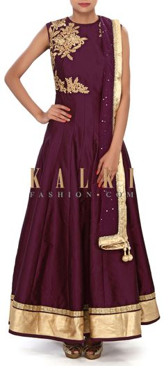 Buy Online from the link below. We ship worldwide (Free Shipping over US$100) Price- $149 Click Anywhere to Tag http://www.kalkifashion.com/magenta-anarkali-suit-embellished-in-zari-and-kundan-embroidery-only-on-kalki.html