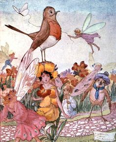 """Florence Mary Anderson ~ Secrets of the Flowers - The Wallflower """"Well ... I can't smell anything,""""    said the Robin."""