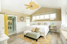 Bedroom House of Turquoise: Day Five: Dream Home Tour. im liking the doors on rollers for dividing my future living room from dining room. Dream Bedroom, Home Bedroom, Master Bedroom, Bedroom Decor, Calm Bedroom, Summer Bedroom, Bedroom Yellow, Master Suite, Airy Bedroom