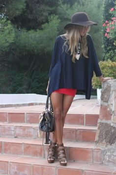 Poncho with skirt or shorts and floppy hat