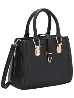 140ee2825a102 SHEIN offers Black Buckle Zipper PU Shoulder Bag   more to fit your  fashionable needs.