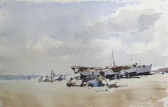 Edward Seago | Figures on the Beach, watercolor