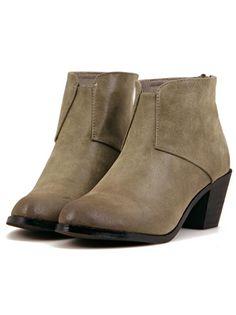 Khaki Vintage Chunky Heel Zipper Boots 36.05