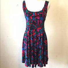 Marc Jacobs Multicolor Dress Super bright and cute Marc by Marc Jacobs dress in a multicolor print, small ruffle detail on chest, and exposed back zip. Excellent condition! Marc by Marc Jacobs Dresses