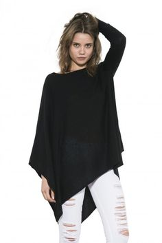 Jett is a poncho/pullover hybrid - the best of both worlds. One side features the modified cascade of a poncho, giving you movement with each step. Black Sweaters, Cashmere, Turtle Neck, Pullover, Chic, Grey, Blouse, How To Wear, Shirts