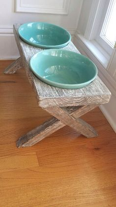 XL elevated raised dog bowl feeder, farm table, whitewashed, distressed wood, ceramic bowls, 22 x10x12 by hout1design on Etsy https://www.etsy.com/listing/400972873/xl-elevated-raised-dog-bowl-feeder-farm