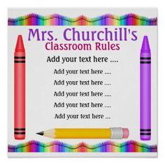 School Teacher's Classroom Rules by SRF print - The Best Classroom Rules Posters for Teachers