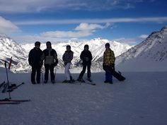 Cresta Youla, Courmayeur, Italy - Toptastic ski run on top of the Alps - can see Italy, France & Switzerland - Skied down many times and love it! This was Feb 14 with friends. Feb 14, Happy People, Alps, Four Square, Switzerland, Mount Everest, Skiing, Italy, France