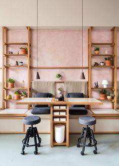 blush walls + open shelving at Ruchki da Nozhki Salon