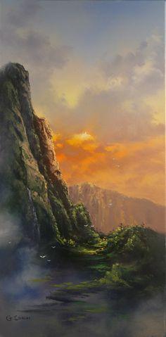 """Soaring into the Ko'olaus"", by George Eguchi #art #hawaii #paletteknife"