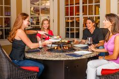 Our most popular table, the Naples 54'' round fire table by Firetainment seats 6 to 8 guests and is ideal for for cooking, dining and entertaining. #firetainment