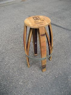Another creation from my hubby...bar stool made out of a wine barrel