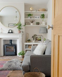 Our Living Room Makeover (With Before + After Pics) Cosy Living Room Small, 1930s Living Room, Alcove Ideas Living Room, Small Sitting Rooms, Victorian Living Room, Narrow Living Room, Small Lounge, Cottage Living Rooms, New Living Room