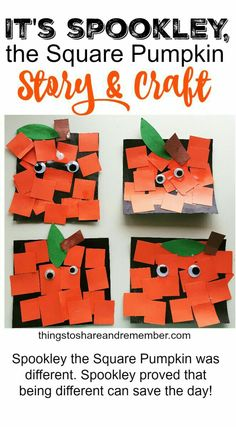 Spookley, the Square Pumpkin Craft for Kids. Great fall activity or Halloween craft. Spookley, the Square Pumpkin Craft for Kids. Great fall activity or Halloween craft. Daycare Crafts, Classroom Crafts, Toddler Crafts, Classroom Ideas, Kindergarten Art, Preschool Art, Pumpkin Preschool Crafts, Pre K Pumpkin Crafts, Preschool Fall Theme