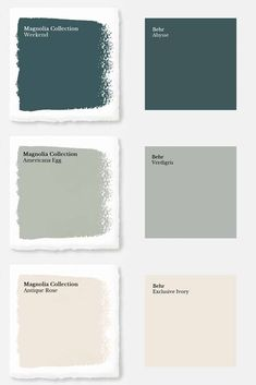 "Magnolia Paint Colors Matched to Behr These days, you'd have to live under a rock to not know who Chip and Joanna Gaines are. Their initial debut was on the infamous HGTV show ""Fixer Upper"" and since then they have opened a destination spot in Waco, Texas Magnolia Paint Colors, Fixer Upper Paint Colors, Magnolia Homes Paint, Matching Paint Colors, Green Paint Colors, Bedroom Paint Colors, Exterior Paint Colors, Paint Colors For Home, House Colors"