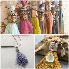 Jewelry Tassel Inspiration and How to Make Them! – Nunn Design Jewelry Tassel Inspiration and How to Make Them! Diy Tassel Earrings, Tassel Jewelry, Diy Necklace, Skull Earrings, How To Make Tassels, Making Tassels, Good Luck Necklace, Evil Eye Jewelry, Necklace Tutorial