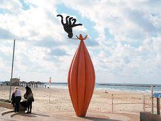Tel Aviv, Israel - Sculpture, on the Promenade (Tayelet) that runs along the Mediterranean seashore