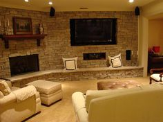 This would be a great TV room to relax in after a long day at work or with family and friends.