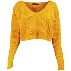 Boohoo Annabella V Neck Crop Knit Jumper ($12) ❤ liked on Polyvore featuring tops, sweaters, cropped jumper, v neck sweater, cropped sweater, yellow v neck sweater and yellow sweater