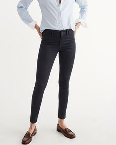 A amp F Women s Super Skinny Sateen Pants in Dark Navy Blue - Size 24 White 68691f5e4dbc4