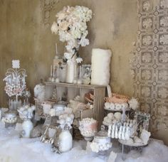 Vintage-winter bridal shower candy buffet / dessert buffet (candy bar dessert bar) by Sweet Celebrations and Candy Creations
