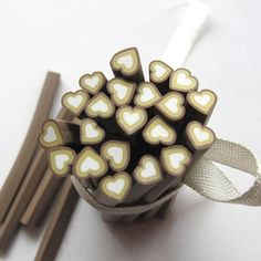 5pcs Brown Heart Fimo Polymer Clay Cane for DIY/ Nail Art